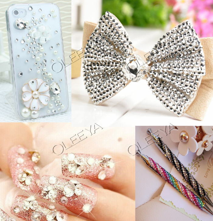 Factory Price Glass 6 bags ss4 to ss12 mixed sizes flat back non hot fix nail rhinestones for 3D DIY nail art decorations