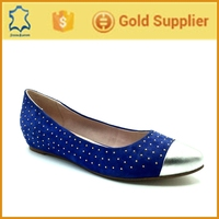 Genuine leather new design ladies flat shoes,rivet women flat sole shoes