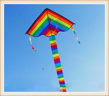 high quality rainbow kitet Outdoor Fun Sports kite Factory Child Triangle Color Kite