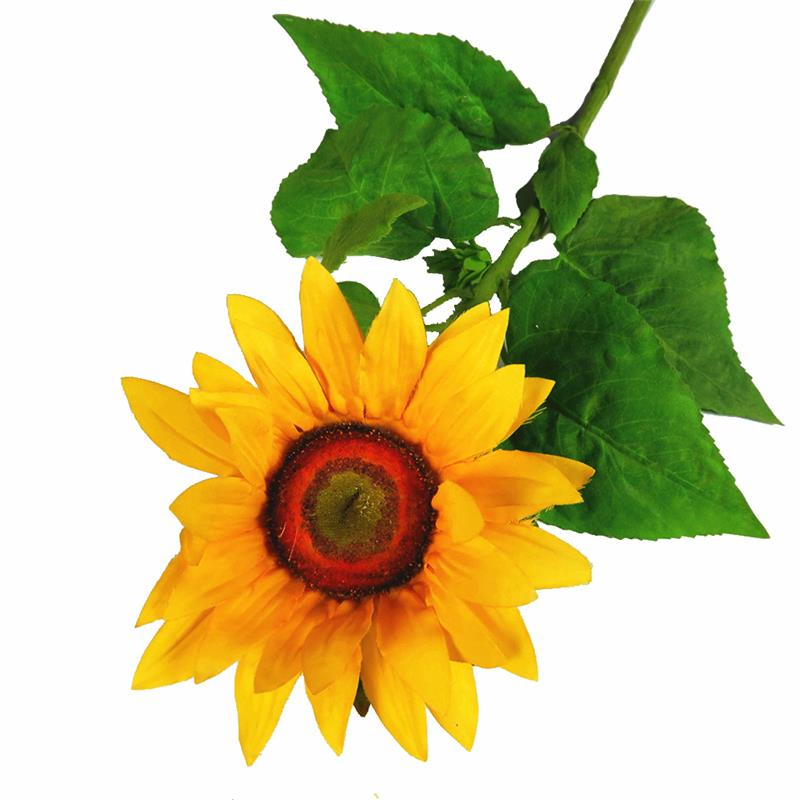 Real touch leaves Giant Artificial silk sunflower branch for Garden decoration