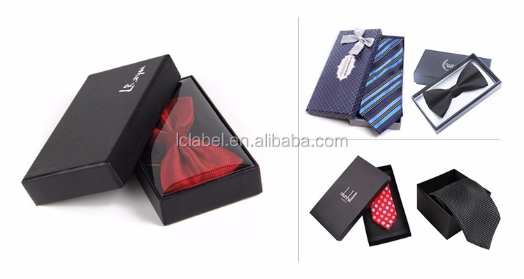 Custom luxury black paper bow tie box gift bow tie packaging boxes tie boxes with custom logo
