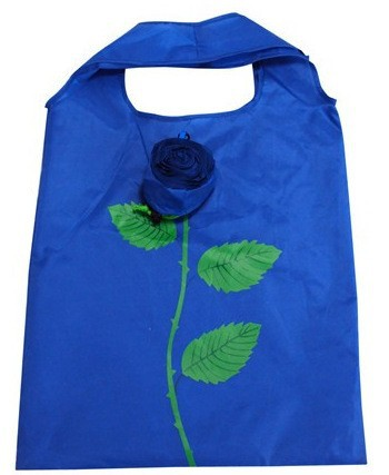 210d rose shape foldable shopping bag with pouch