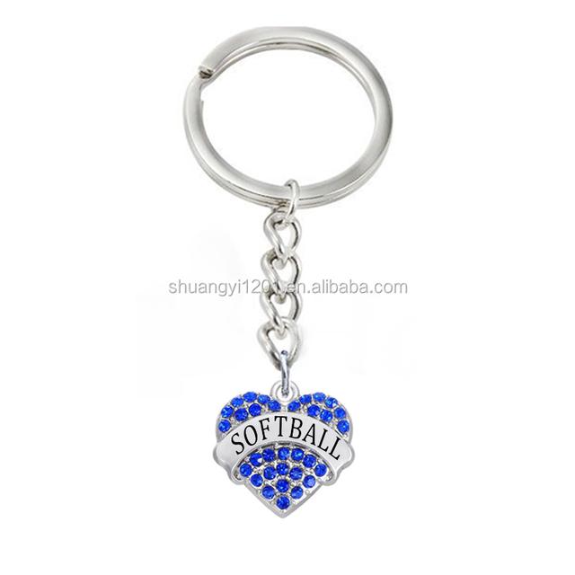 Hot sale heart shaped softball message keyring sport keychain