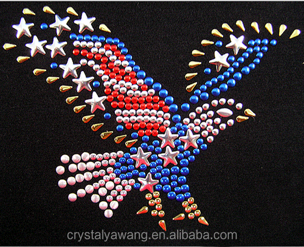 Flying Eagle hot fix strass rhinestone transfer design for jeans