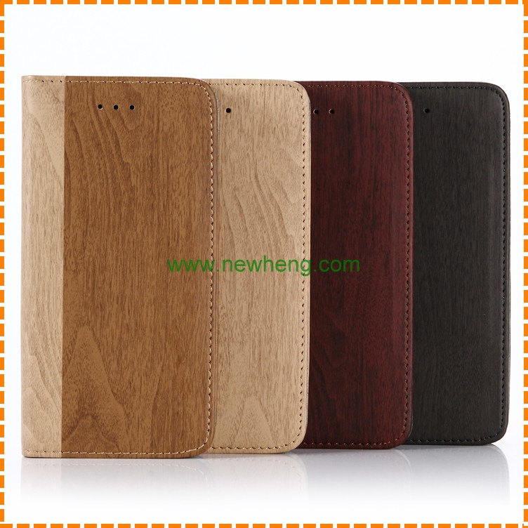 High quality wood grain leather wallet phone case for iphone 8