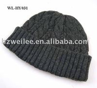 WL-HY031 Voguish grey cable basket knitting winter beanie hat