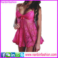sexy fashion girls pink lace see-through lingerie fat women babydoll