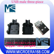USB male with a plastic case three-piece USB 4P connector type A