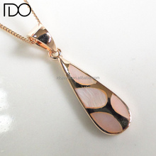 Competitive price rose gold plating Mop 925 sterling silver drop shape pendant jewellery plating for jewerly