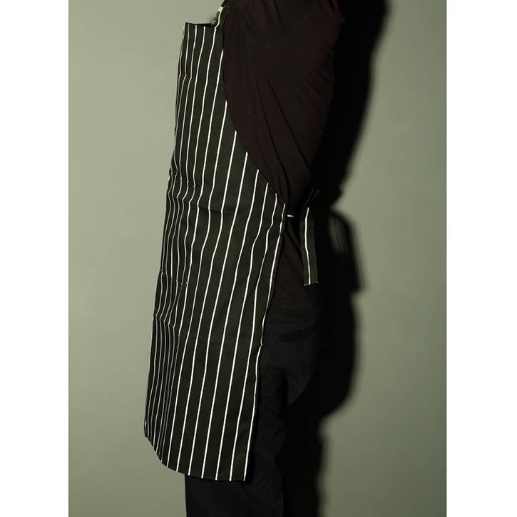 Black White Stripe Apron With Pocket for Chef Waiter Cook Kitchen