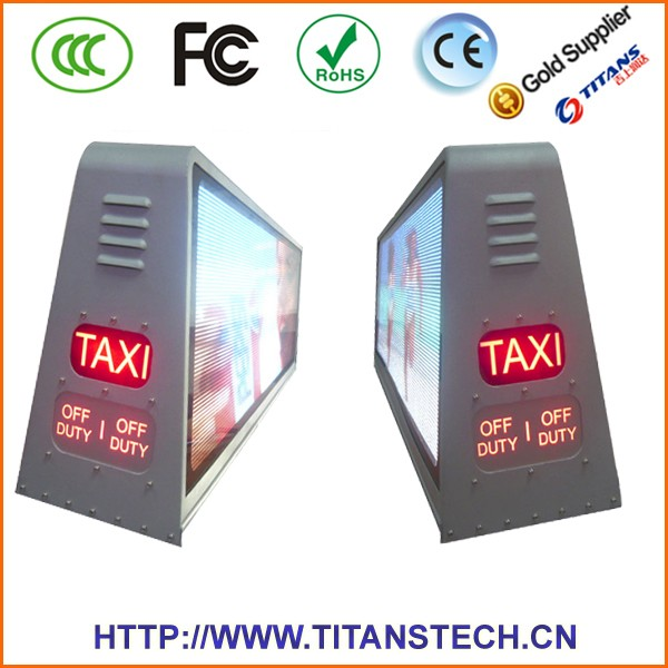 factory price outdoor led digital display taxi advertising roof top signs,taxi car top signs