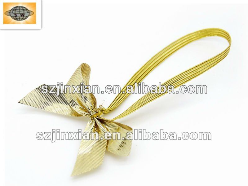 Gold/Silver Metallic Elastic Decoration Bows for Box