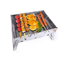 Simple portable folding charcoal stainless barbecue grill for picnics