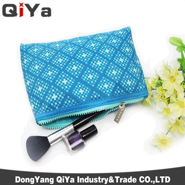 2016 Fashionable PU makeup bag blue makeup bag for ladies