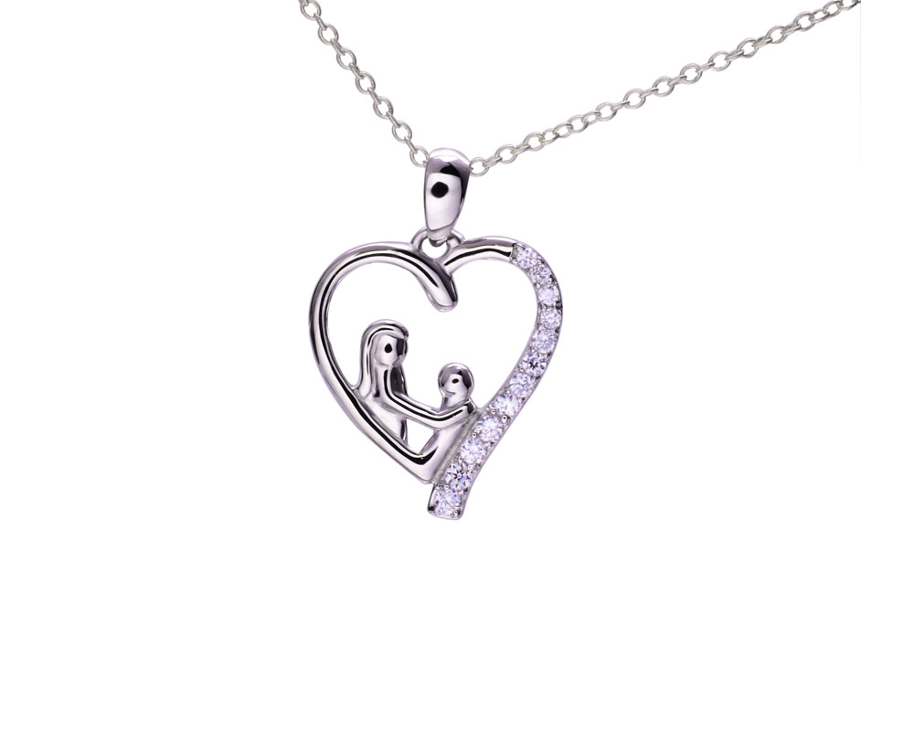 latest silver mother and baby pendant necklace for christmas gifts