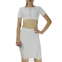 white two pieces bandage evening dress women party dress