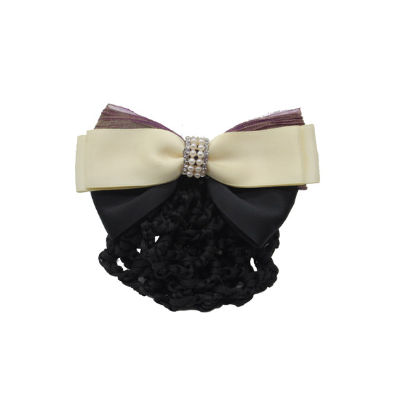 Women's Diamond Cover Net Snood Bowknot Decor Barrette Hair Clip