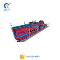 Large popular latest design inflatable trampoline playground for kids and adults interesting commercial air bouncing fun city