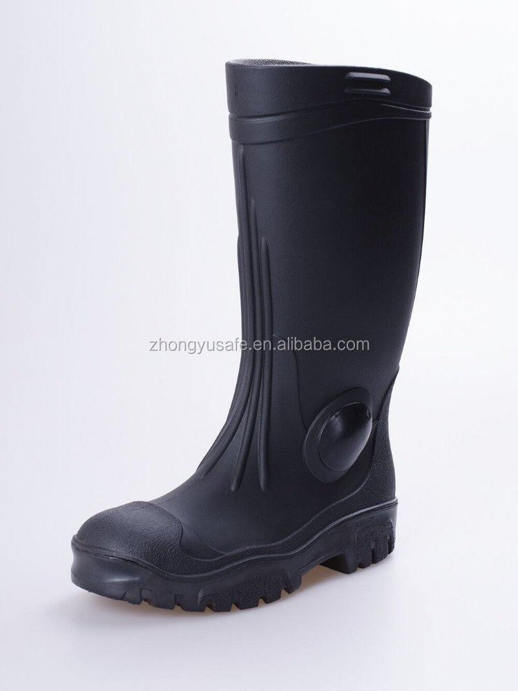 Special application heavy weight Rain Boots knee Boots black Gumbootswith steel toe cap for construction and industry