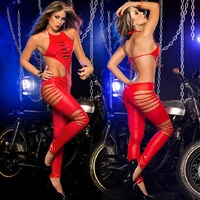 2015 Cheap Wholesale Sexy Pants Black Tight Sexy Leather one size PVC Lingerie Suit