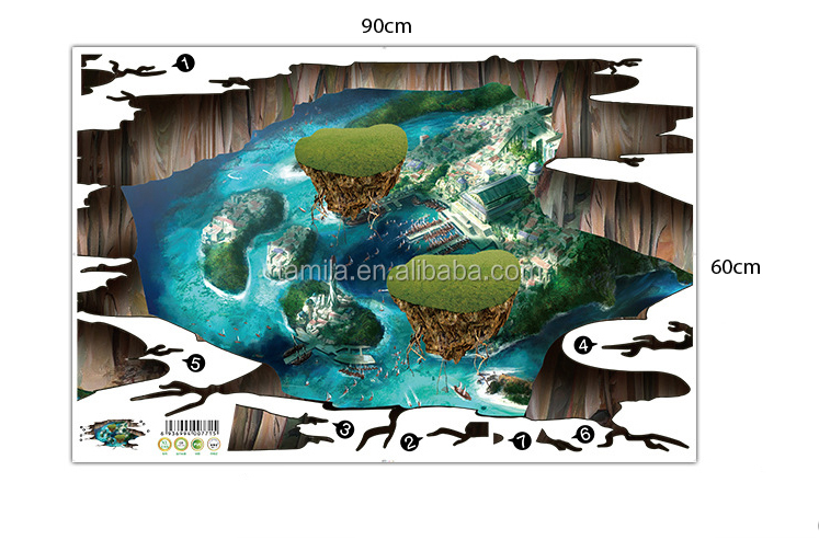 3D Broken Wall Home Decor Mysterious Island wall stickers Sunset Living Room Floor Stickers