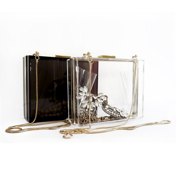 Transparent clutch evening bag acrylic box clutch