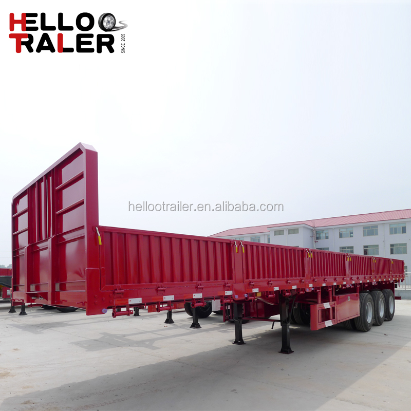 High bed 3 axles 40 ton bulk cargo transport enclosed cargo trailer