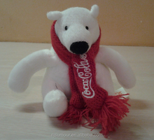 "Promotion Cola Audited Factory Cola PolarWhite Polar Bear Cola Scarf and tag Plush 4.5"" stuffed animal toy"