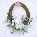 Easter Wall Hanging Wreath With Bunny and Eggs