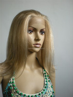 "220g silky straight 16"" noble blond color synthetic front lace wig"