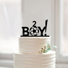 Baby boy shower birthday football cake topper with age sweet children birthday acrylic cake topper