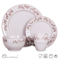 stoneware stamped dinner set with grey printing