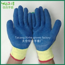 Hard-wearing thick rubber coated cotton gloves safety non-slip gloves