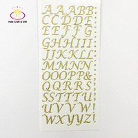 Colorful Silver Gold Adhesive Glitter Vinyl Alphabet Letter Custom Mini Die Cut Sticker