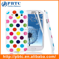 Set Screen Protector And Case For Samsung I9300 , Dot Pattern Hard Gel TPU Phone Case For Samsung Galaxy