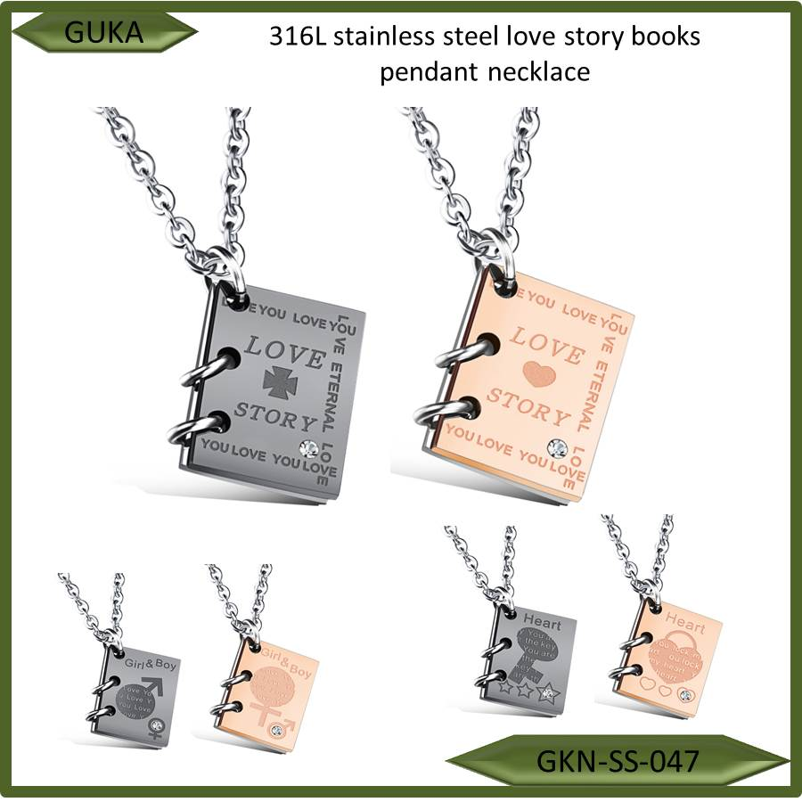 high quality fashion 316L stainless steel men story books crystal titanium steel lover pendant necklace