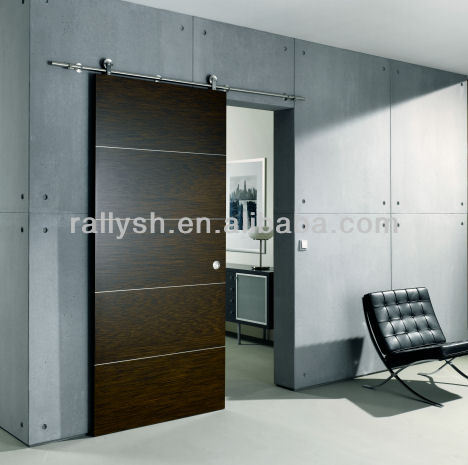 modern designed solid wooden sliding closet door
