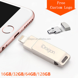 iDragon Customized Logo USB Flash Drive OTG Pen drive 32GB High Speed Metal USB Stick 64gb 16gb Pendrive USB 3.0 Flash Drive