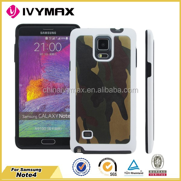 Best selling camouflage case for Samsung NOTE 4 mobile phone covers