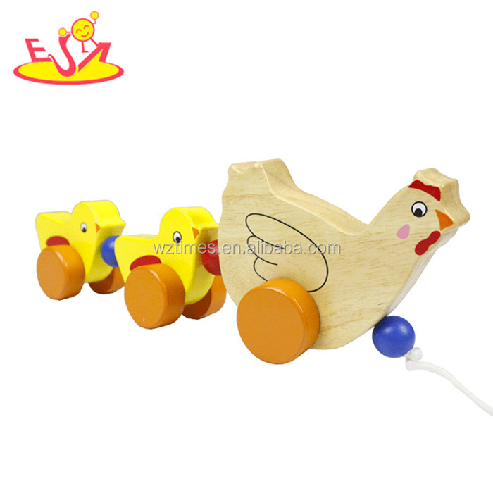 2017 wholesale wooden chicken drag toys popular wooden chicken drag toys fashion wooden chicken drag toys W05B153