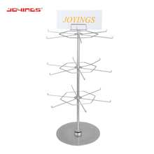 Retail Countertop Rotating Jewelry Hanging Display Stand Hooks