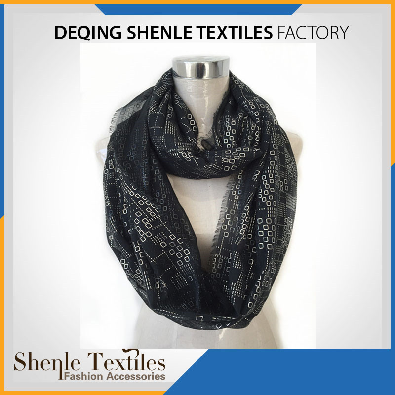 Custom design cheap women polyester foil infinity loop scarf SL-215