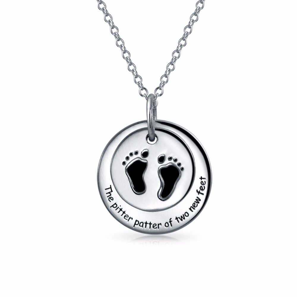 925 Sterling Silver Baby Feet Round Tag Pendant Necklace