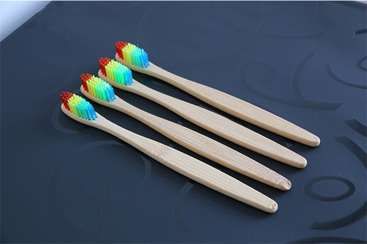 custom logo natural 100% biodegradable bamboo toothbrush rainbow high quality