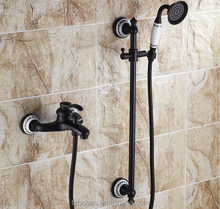 Vintage Style Rain Shower Set Exposed Wall Mounted Black Brush ORB Shower Faucet With Oil Rubbed Bronze Soap Holder And Spray