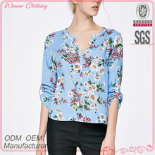 China fashion factory manufacturer summer prints images of ladies casual tops