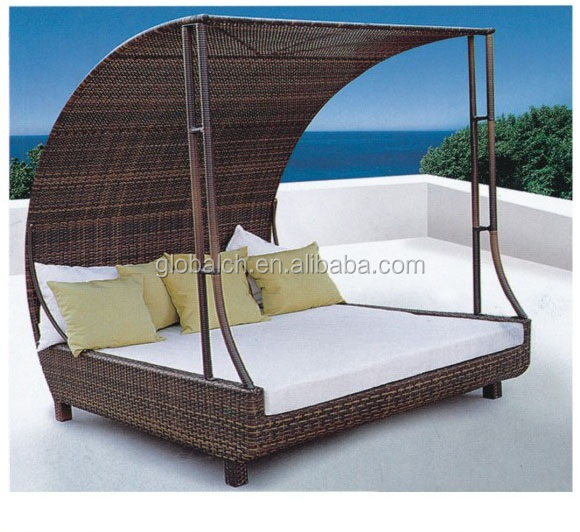 Bali Hot Product Garden Sun Furniture Rattan Round Outdoor Lounge Bed With Canopy