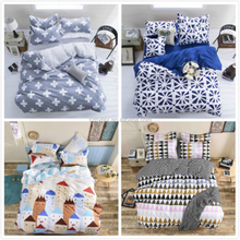 New Simple Geometric House Bed Bedclothes Set Cotton Single Queen Duvet Cover