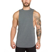 Cotton Spandex Breathable mens gym vest with custom logo mens tank top for mens gym clothing