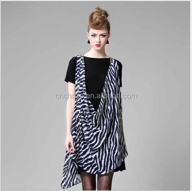 Z10937A Big Sizes Women Clothing New Summer Desigual Elegant Zebra Printed Casual Chiffon Dress Outfits